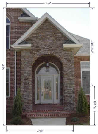 Front door entrance with round top transom